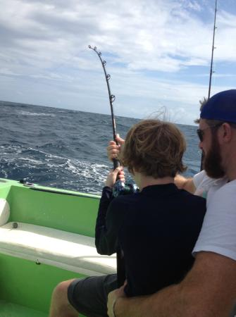 Sport Fishing Center Isla Mujeres: 11 year old on a big king fish