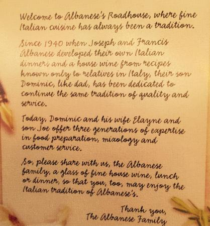 Albanese's Roadhouse: Pride in Italian family tradition!