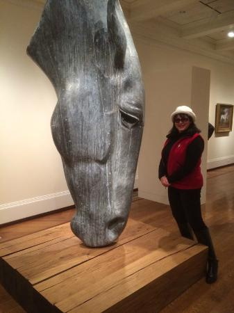 National Sporting Library & Museum : Entryway, impressive sculpture horse drinking water.