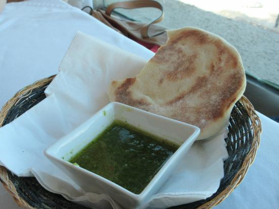 Jerusalem Kosher Store and Restaurant: Home made pita and dipping sauce