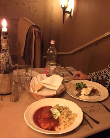M. Restaurant: Chicken goulash and zucchini. Both excellent