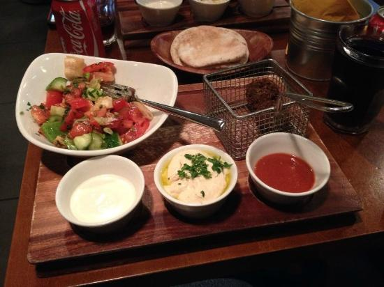 Umi Falafel: Table full of food for 16 euro