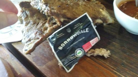 Old Brickworks Brasserie at Potters Hunter Valley: Label from rib packaging in our food.