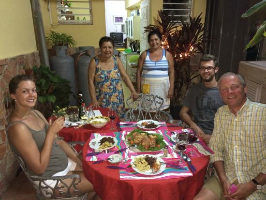 Hostal Mercedes Padron Jimenez: Sra Mercedes, Her Kitchen Helper, and our Christmas Dinner 2014