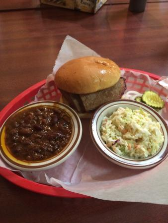 Half Sauced Barbeque : The beef brisket with BBQ beans and cole slaw.