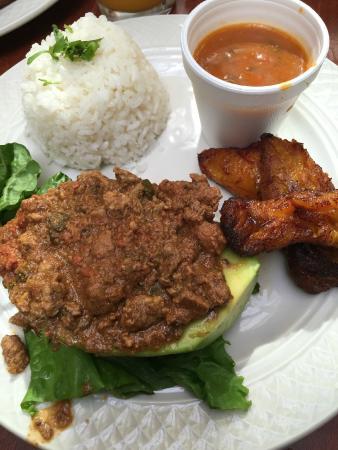 Cafe El Punto: ground beef stuffed avocado