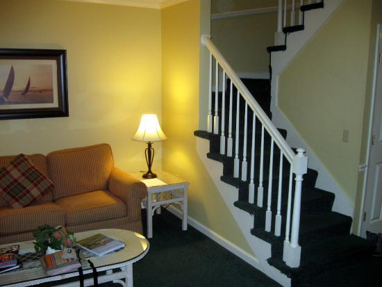 The Cottages by Spinnaker: Living Room and Stairs