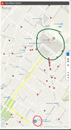 Ibis Milano Centro: Route we walked to Milano central (10 minutes)  The red circle is the hotel and the green is Mil