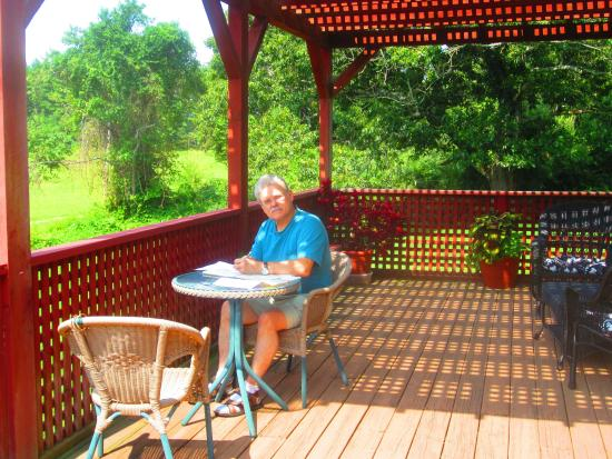 On Cranberry Pond Bed and Breakfast: Sunny deck outside our room