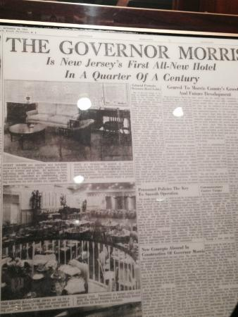 The Westin Governor Morris, Morristown: Framed article about the history of the hotel