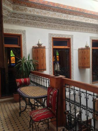 Riad Verus: This balcony is the best spot for tea, after the terrace.