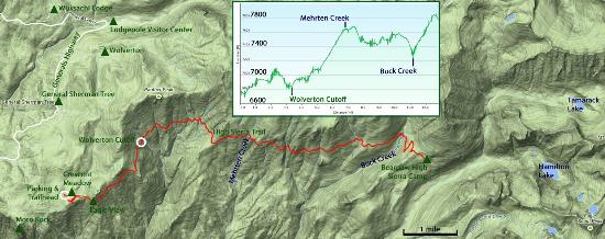 Map of the High Sierra Trail between Crescent Meadow and Bearpaw