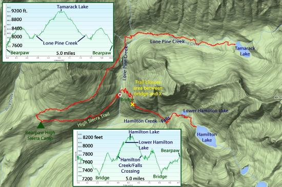 Trails from Bearpaw to Hamilton Lake and Tamarack Lake Picture of