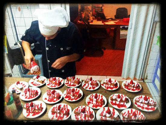 The Chef at Rancho Naturalista putting finishing touches on a delicious dessert