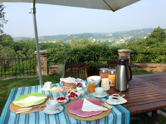 Villa Vega: Our private breakfast in the midst of a beautiful garden overlooking the plains leading to Venic