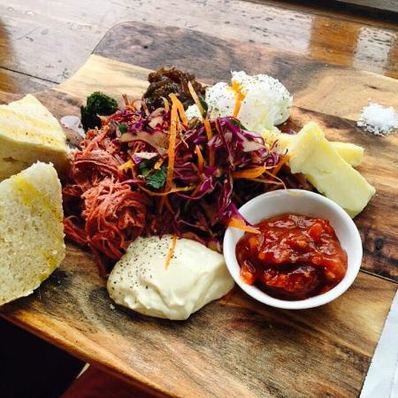 MainDeck Cafe: Ploughman's board - shredded corned beef with all sorts of tasty accompaniments. Soooo good!