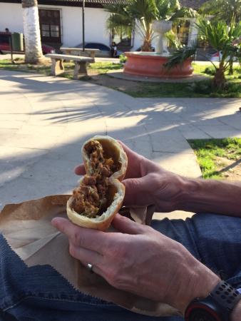 Panaderia y Cafe Santa Clara: Yum! Bread stuffed w/ bbq pork, cheese, veggies