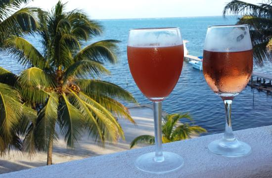 Seaside Villas Condos: Patio is perfect for drinks.  Ray's rum punch on the left