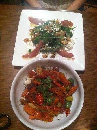 Luca's Ristorante: top: pear salad bottom: panzanella salad