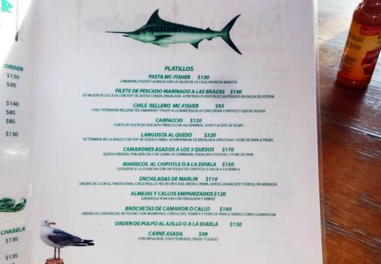 Mc-Fisher: Part of the menu