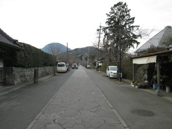 Honmyoji Temple: はじめの山門をあがったところ、その先に石灯篭の石段です。