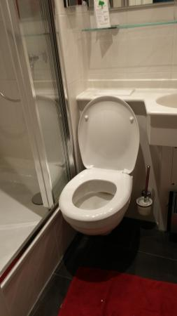 Hotel Luitpold: Cramped toilet with crazy WC placement!!