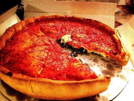 Giordano's: ほうれん草とマッシュルームのpizza