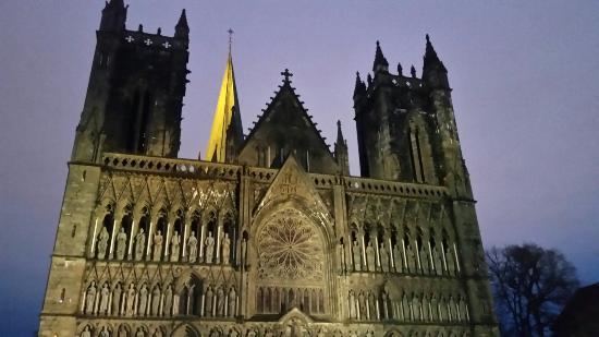 Nidaros Cathedral,  Trondheim at 9am on a dark, damp December morning