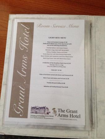 Grant Arms Hotel: Room Service Menu. It's just for show. They don't do room service.