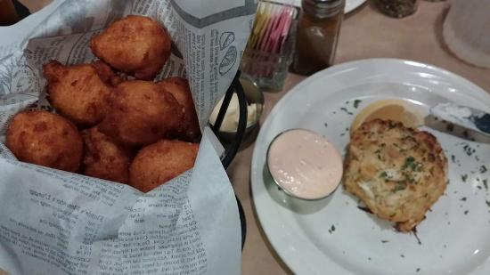 Brother Shuckers: Hush puppies and crab cake