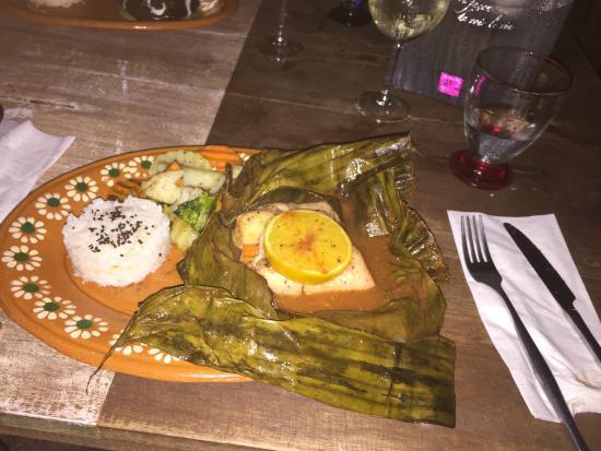 Puro Corazón: Filete de pescado estilo Maya en hoja de platano (Fish filet Mayan style wrapped in plantain lea