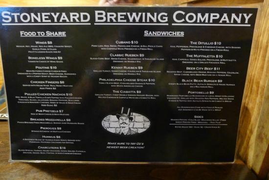Stoneyard Bar and Grill: Menu