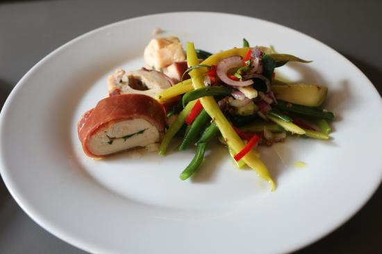 Carcassonne Kitchen: Chicken breast stuffed with tarragon and butter with a bean salad
