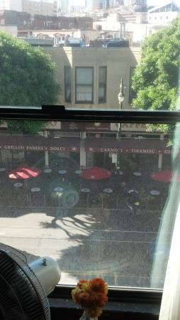 Hotel Boheme: View of Columbus Ave right outside our window