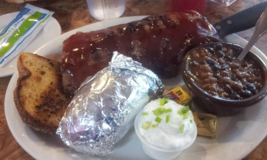 Red Sky BBQ: 1/2 rack rib meal, with choice of potato and choice of vegeies, I chose baked beans