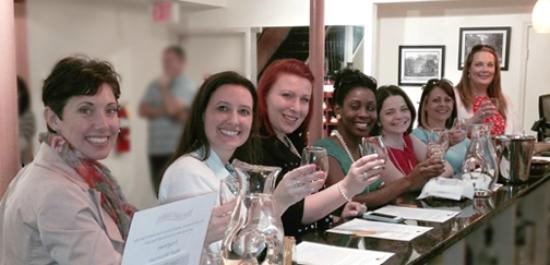 Girls get-away group does a wine tasting at The Salt Table