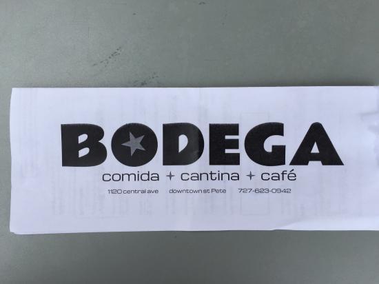 Bodega Comida Cantina Cafe : Take out menu