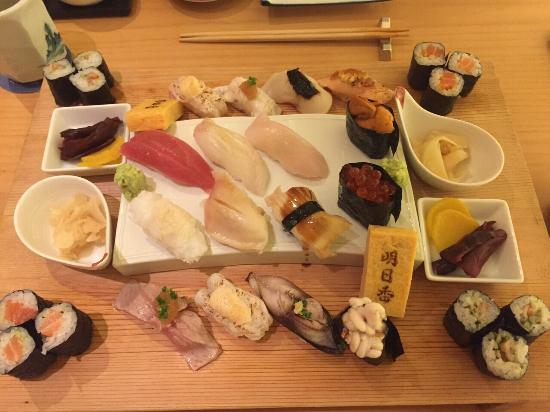 Asuka Japanese Dining: Sushi set for two IDR 1.1m or USD 100 came with chawamushi and miso soup