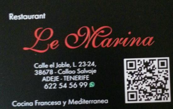 Ex Le Marina Carte De Visite Avec Flash Code