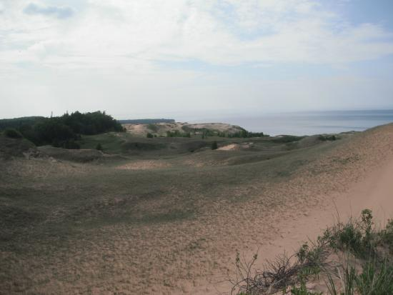 Log Slide Overlook: View of Grand Sable Dunes, a few mile hike from the Log Slide