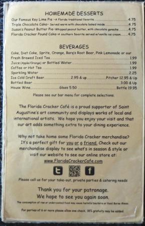 Florida Cracker Cafe Menu