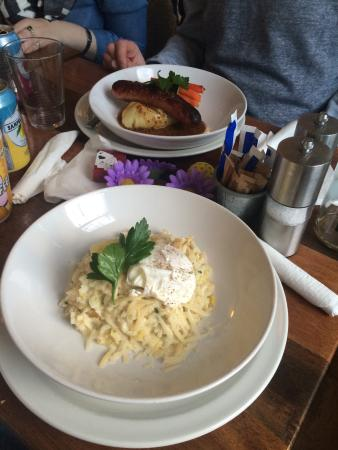 Water of Leith Cafe Bistro: Leek and smoked haddock risotto, Toulouse sausage and