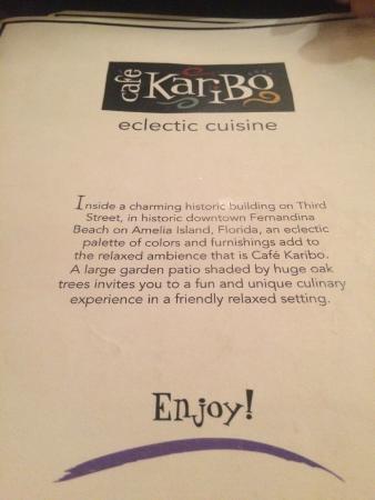 Cafe Karibo: Menu