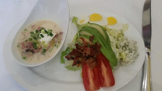 Seasons of Durango : Red Pork soup and Cobb salad.