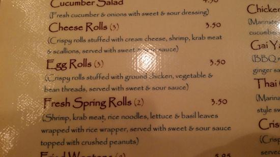 Thai Cuisine: Favorite appetizer: Egg Roll