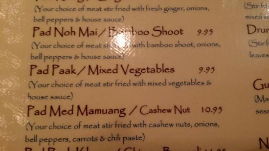 Thai Cuisine: Favorite meal: Mixed Vegetables