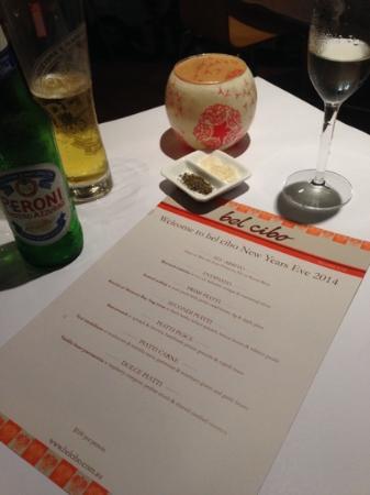 bel cibo: nye2014 menu