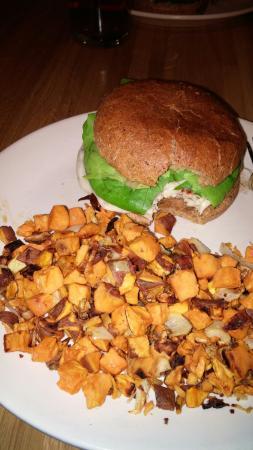 True Food Kitchen Burger turkey burger & sweet potato hash - picture of true food kitchen