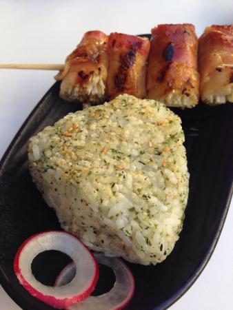 Katsuya - Glendale - SBE : Onigiri and bacon wrapped enoki