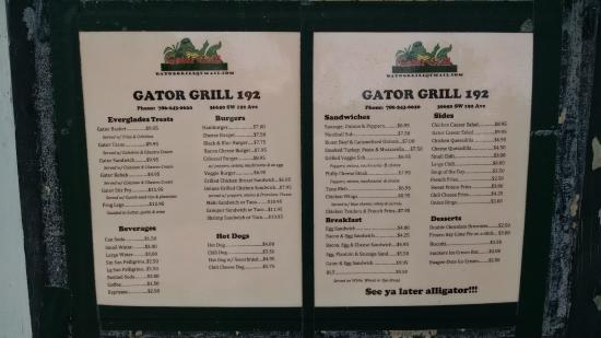 Everglades Gator Grill: Actual Gator Grill menu, posted outside
